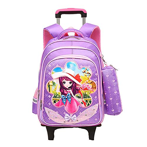 School Bags for Boys Childrens Luggage on Wheels Rolling School Backpack for Boys with Wheels Kids Trolley Rucksack Student Bags GWBI-purple
