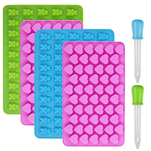 Moules à bonbons et bacs à glaçons en silicone YuCool - Lot de 4moules à gelée, à chocolat, à ourson en gélatine - Avec 2pipettes - Cœur, ourson