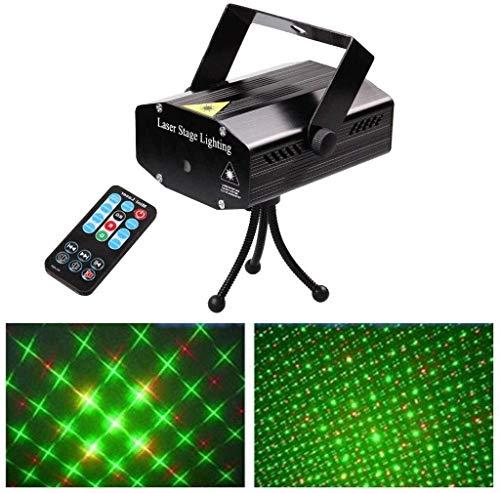PartyLicht Sound aktiviert Discokugel LED, Mini-LED-Disco-Stadiums-Licht, mit Sprachsteuerung Fernbedienung Rot und Grün Muster Bühne Flutlicht for Heim-Stadiums-Partei KTV Bar Tanz Gesang Weihnachtsd