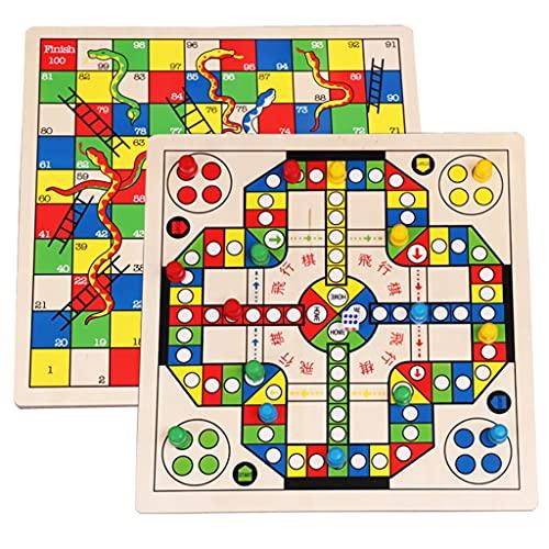 FEANG Juegos de Mesa de Madera para niños, 2 en 1 Ludo Volando Ajedrez y Serpientes y escaleras Juego de Familia Juguete Puzzle para Adultos y niños