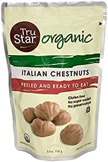 TruStar (formerly Naturi) Organic Italian Chestnuts, Peeled, Ready-to-eat, 3.5oz Pouch (Pack of 12)