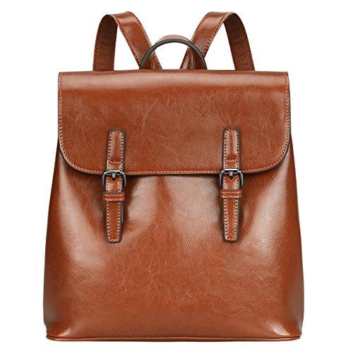 S-ZONE Damen Leder Rucksack Vintage Chic Preppy Commuter Tasche