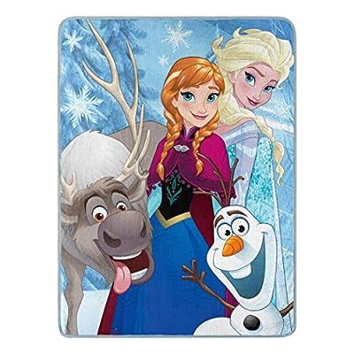 """Disney Frozen, """"Winter Bunch"""" Micro Raschel Throw Blanket, 46"""" x 60"""", Multi Color, 1 Count"""