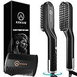 Arkam Premium Beard Straightener for Men - Ionic Technology Heated Beard Brush - Includes Dual Action Fine Wooden Comb & Travel Bag