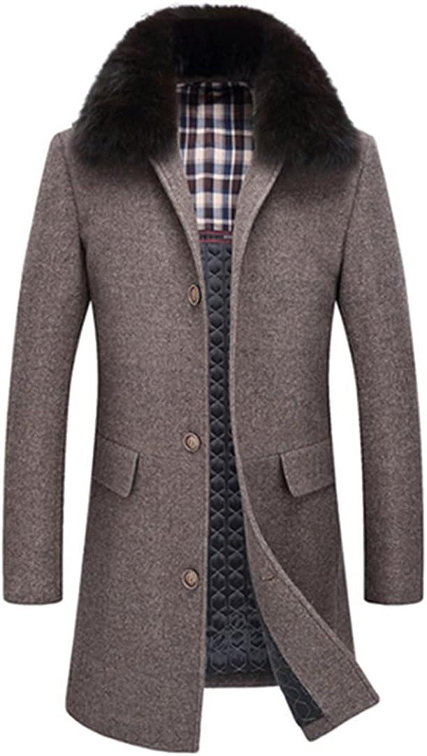 Men Fax Fur Wool Jacket 45% Wool Men Longer Section Woolen Coats Jackets Outerwear Warm Coat