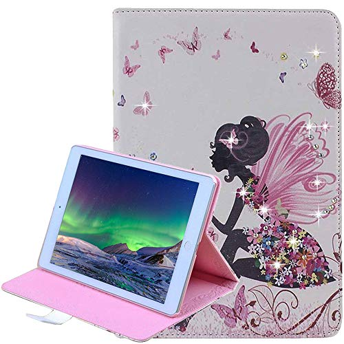 iPad Mini Case [Free Screen Protector], Glitter Sparkle Premium Leather, Butterfly Girl Stand Smart Cover Auto Wake/Sleep for Apple iPad Mini 1 / iPad Mini 2 / iPad Mini 3 / iPad Mini 4, Pink