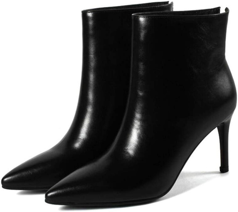 CBDGD Herbst und Winter Damenstiefel Mode weie Stiefeletten Leder Wild und Samt V-Ausschnitt High Heels Spitze nackte Stiefel wei, schwarz High Heels (Farbe   schwarz Plus Velvet, Größe   38 EU)