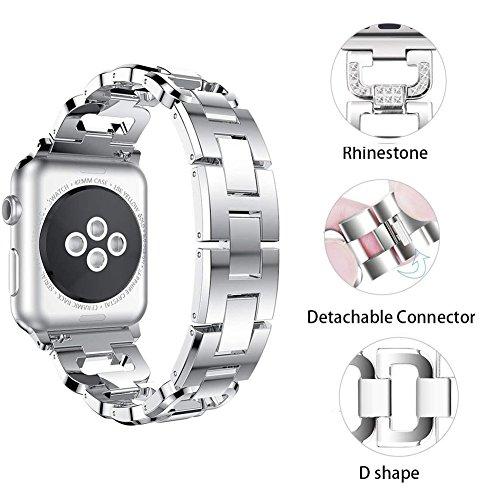 XIHAMA Cinturino di ricambio compatibile con Apple watch series 5 4 3 2 1, diamante di cristallo Acciaio inossidabile Cinturini 38mm 40mm 42mm 44mm per iWatch