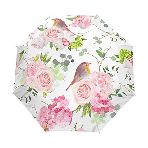 Jeansame Roze Rose Pioen Orchidee Robin Vogels Bloemen Retro Franse Vouwen Compacte Paraplu Automatische Regen Paraplu's voor Vrouwen Mannen Kid Jongen Meisje