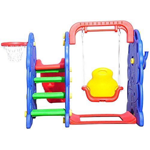 HOMCOM Kinderrutsche Kinder Rutsche Spielzeug Slide Gartenrutsche Babyrutsche (Elefantrutsche mit Schaukel) - 3
