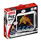 Quercetti - Peg Brite - Light-Up Peg Board Art Toy - Draw with 120 Pegs & Bright Led Lights - Safe for Kids Ages 4 Years & Up