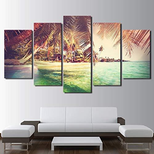 HD afgedrukt Canvas Poster Home Decor woonkamer 5 Panel eiland palmbomen landschap Frame Wall Art schilderij