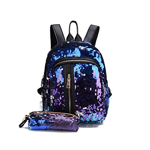 Abuyall Girl Sequin Backpack Glitter Bling Rucksack School Sparkle Daypack With Pencil Case Blue