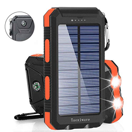 Solar Charger Solar Power Bank 20000mAh Waterproof Portable External Backup Outdoor Cell Phone Battery Charger with Dual LED Flashlights Solar Panel Compatible with All Smartphone (Black & Orange)