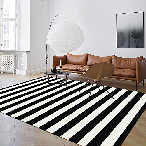 Seavish Indoor Outdoor Patio Rugs, 59' x 94.5' Black and White Ivory Stripes Rug Handmade Woven Farmhouse Rug, Machine Washable Stripe Carpet Cotton Rug for Living Room/Entry Way/Laundry