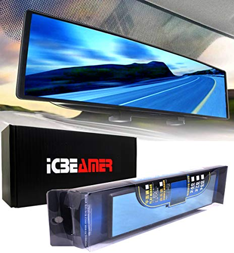 ICBEAMER 11.8' 300mm Easy Clip on Universal Fit Wide Angle Panoramic Auto Interior Rearview Mirror Flat Blue Surface