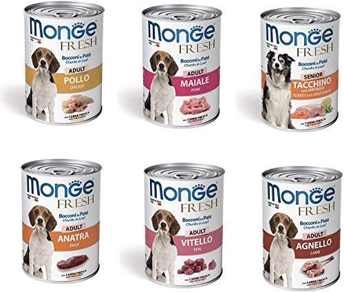 24 Lattine da 400g Monge Fresh Cibo Umido per Cani con Carne Fresca di Pollo Maiale Tacchino Anatra Vitello Agnello