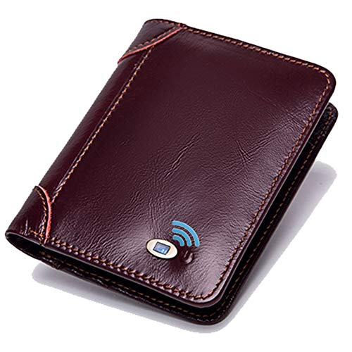 Smart LB Smart Anti-Lost Wallet with Alarm, Bluetooth, Position Record (via Phone GPS), Cowhide Leather Vintage Retro Style Purse (Wine, Vertical)