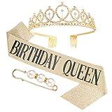 Veraing Geburtstags Krone Schärpe, Gold Geburtstag Kristall Tiara Krone Schärpe mit Birthday Queen + Perle Brosche Prinzessin Kronen Haar-Zusätze für Frauen Party Accessoires(3 teiliges Set)