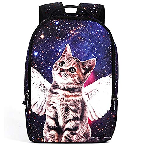 FAGavin Personality Angel Star Cat Men's And Women's Breathable Lightening Polyester Shoulder Bag Student Bag, Business Travel Student Bag, 14' Computer Mezzanine, School Size 48 * 31 * 15cm
