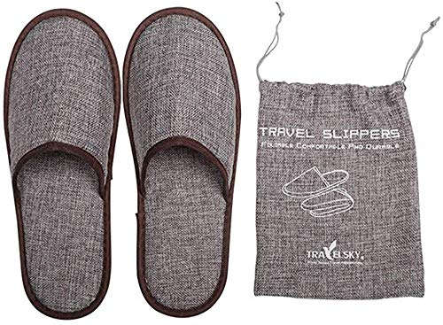 Travel Breathable Non Disposable Slippers Foldable Hotel SPA Storage Bag gq
