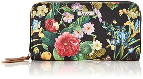 Gabor Damen Granada Spring Geldbörse, Schwarz (Blumen Schwarz), 20x10.5x2.5 cm