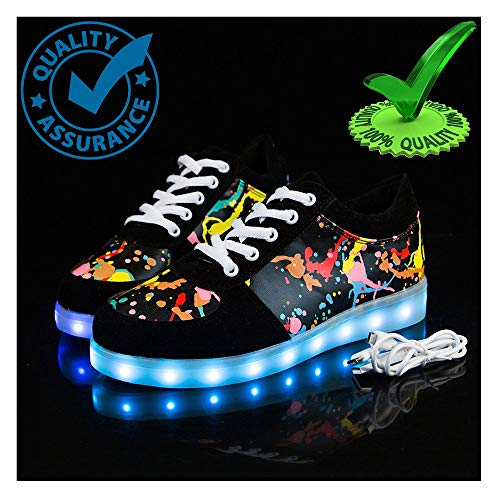 WXBYDX Blinkende Schuhe,Leuchtende Schuhe Unisex LED Schuhe Leuchtschuhe 7 Farbe Blinkende Leuchtende Light Up Sneakers Damen Herren Energy Lights Ausbilder,Größe 35-44black-39