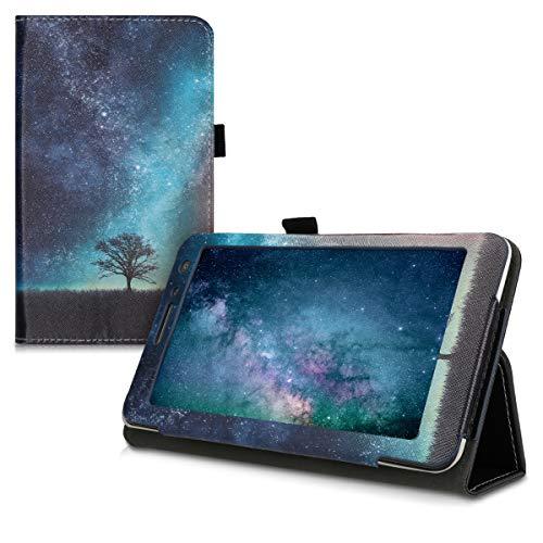kwmobile Hülle kompatibel mit Huawei MediaPad T1 7.0 - Slim Tablet Cover Case Schutzhülle mit Ständer Galaxie Baum Wiese Blau Grau Schwarz