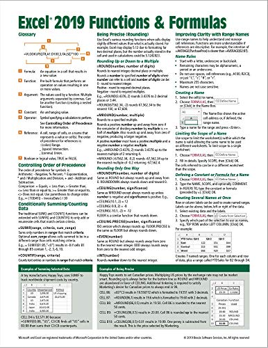 Microsoft Excel 2019 Functions & Formulas Quick Reference Card - Windows Version (4-page Cheat Sheet focusing on examples and context for ... functions and formulas- Laminated Guide)