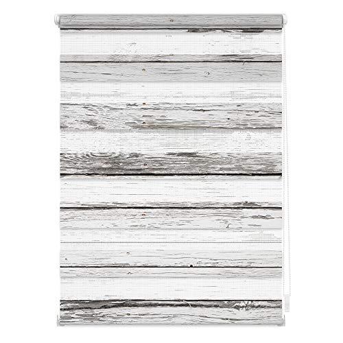 Lichtblick DRD.045.150.304 Duo Rollo Klemmfix, ohne Bohren, Blickdicht, Bretter-Vintage Weiß Grau, 45 cm x 150 cm (B x L)