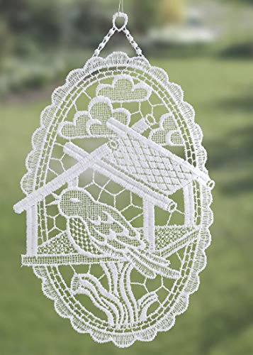 Plauener Spitze Fensterbild Vogel Vogelhaus 15x25 cm