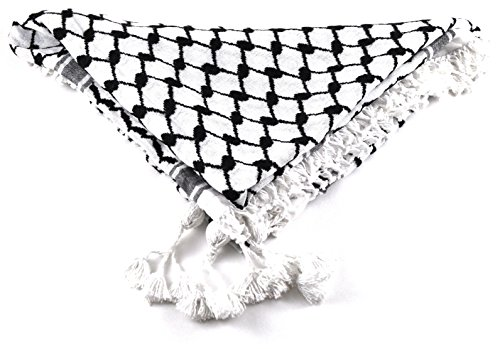 Authentic Shemagh, Keffiyeh, Hattah, Middle Eastern Headdress (Black/White)