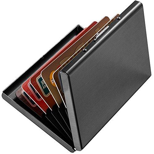 Enyoir Slim RFID Credit Card Protector Wallet, Block Identity Thieves, Stainless Steel Aluminum Metal Holder Case with 6 PVC Slots (Black)