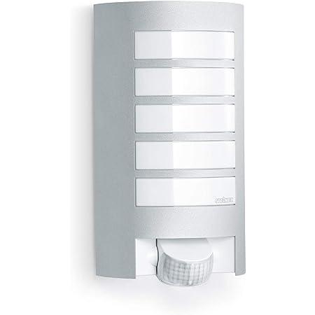 Steinel Luminaire extérieur L 12 avec détecteur de mouvement - Applique murale avec capteur de présence 60W - Lampe extérieure portée de 10 m, couleur argent