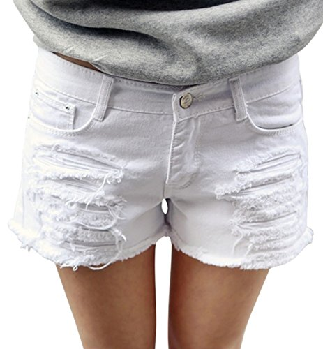 chouyatou Women's Perfectly Fit 5-Pockets Ripped Denim Jean Shorts (Small, White)