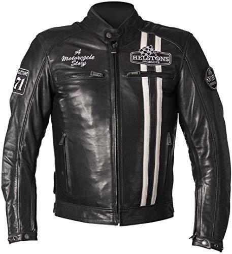 Helstons Indy Motorrad Lederjacke Dunkelblau/Weiß 4XL