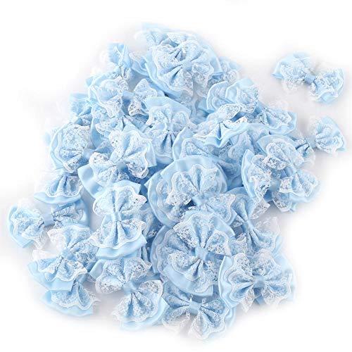 HEEPDD boog applicatielinten, 50 stuks mini satijnen lint bogen kant ambachtelijke bowknot voor kleding rokken hoofdband sokken cadeauverpakking bruiloftsdecoratie