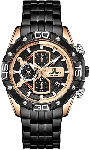 NAVIFORCE Reloj de pulsera de lujo para hombre, analógico, movimiento de cuarzo, cronógrafo, 3 subesferas, calendario, Dorado-negro.,