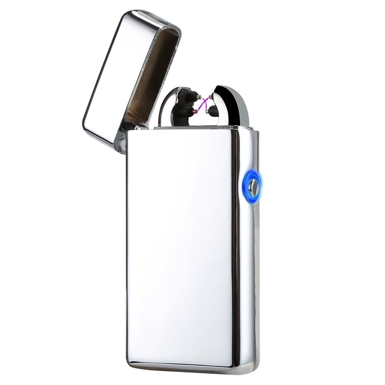 直径許される打撃KIVORS ライター 電子ライター USB充電式 プラズマ ターボライター ガス オイル要らない プレゼント (シルバー)