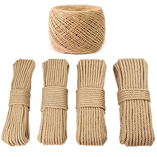 PGNROPE 100% Natural Linen Twisted Rope (1/5in x 15m(About 16 yd))