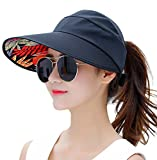 HINDAWI Sun Hat Sun Hats for Women Wide Brim UV Protection Summer Beach Packable Visor Black