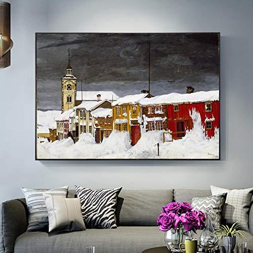 YQLKC Carteles e Impresiones Hermoso Invierno Cubierto de Nieve Paisaje Urbano Pinturas en Lienzo Cuadros de Arte de Pared para decoración de Sala de Estar 11.8'x19.6 (30x50cm) Sin Marco
