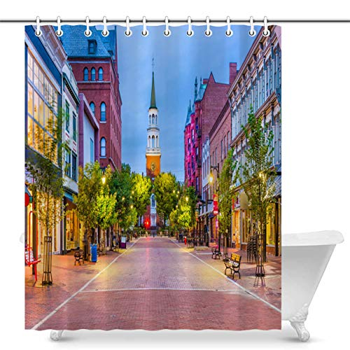Vikes Cityscape Shower Curtain,Luxury Home Decor Shower Curtain,USA Burlington Vermont Street View,Waterproof Polyester Fabric Bathroom Curtain with Hooks,66Wx72L