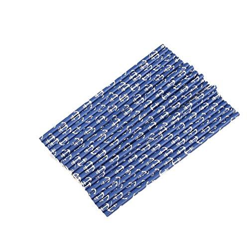 Kicode 50 Pcs Ancla Náutico Navegación Pajas Armada Azul Mar Anclas Papel Bebida Pajas Marinero Fiesta Suministros