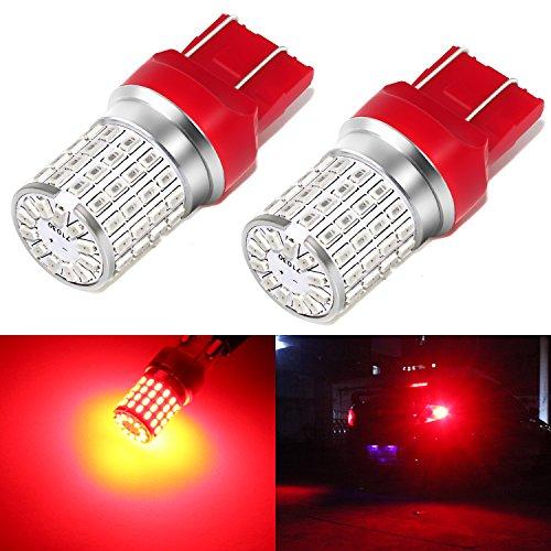 Phinlion 7443 LED Red Brake Light Bulb Super Bright 3014 72-SMD 7440 7444 T20 LED Bulbs for Stop Tail Brake Turn Signal Lights