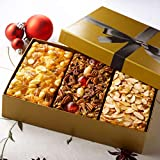 Grandma's Fruitcake Assortment Old Fashioned Traditional, Amaretto & Pineapple Macadamia Nut Flavors, 3-1 Pound Cakes in Gold Gift Box