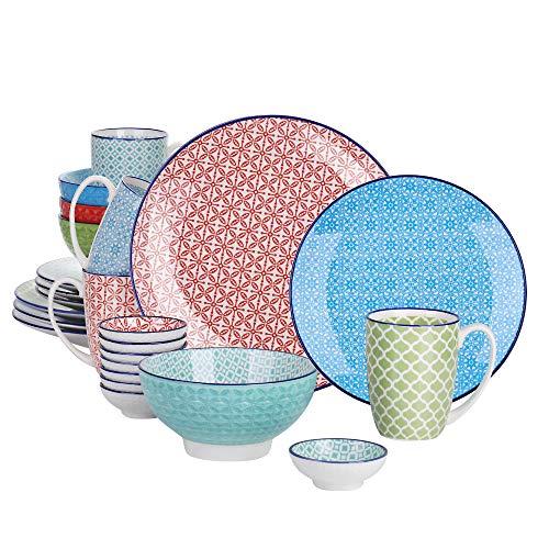 vancasso Serie Macaron Vajillas 24 Piezas Vajillas Porcelana Colores 4 Diseños de...
