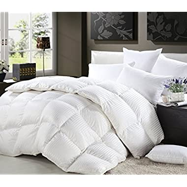 LUXURIOUS King/California King Size Siberian Goose Down Comforter All-Season Duvet Insert, Premium Baffle Box, 1200 Thread Count 100% Egyptian Cotton, 750+ Fill Power, 50 oz, White Damask Stripe