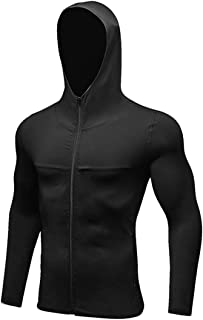 QCHENG Men's Hooded Sports Training Coat Quick Dry Long Sleeve Zip Workout Athletic Jacket Black S=Tag M