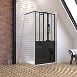 Pack de mampara de ducha 100 x 200 cm, color negro mate + plato extra plano para colocar 100 x 80 cm, color blanco efecto piedra